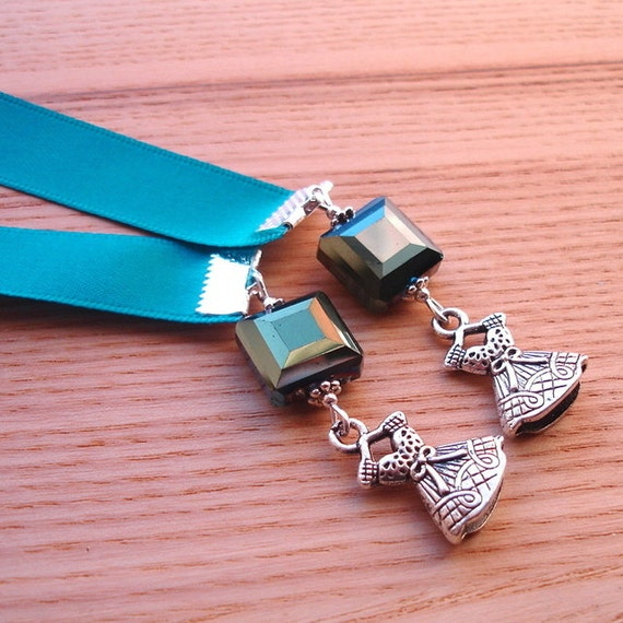 Teal Ribbon Bookmark with Dress Charm, Unique Beaded Bookmark, Teacher Gift, Spring Finds, Payday Treat, 18th Birthday Gift, Mum Gift