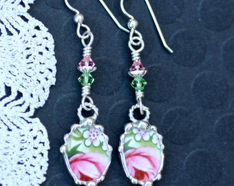 Earrings, Broken China Jewelry, Broken China Earrings, Pink Rose Floral China, Dangle Earrings, Sterling Silver