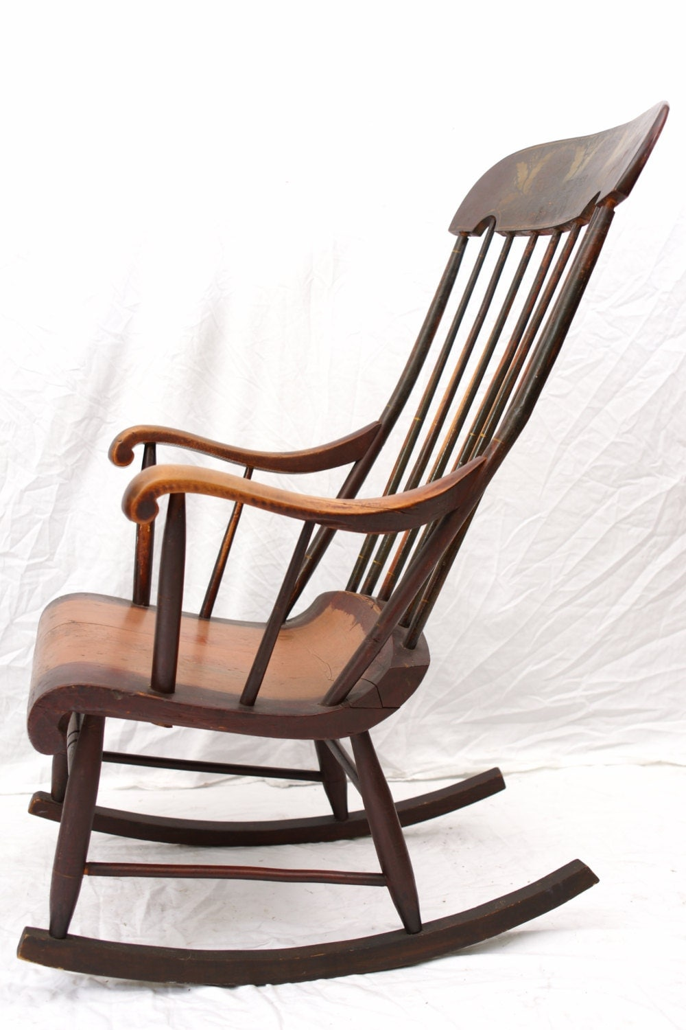 antique rocking chair boston rocker hitchcock style stenciled painted
