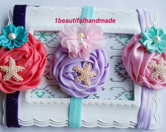 Ariel Inspired Hair Bow - Ariel Hair Bow, Ariel Starfish, Ariel Headband, Ariel Hair Clip, Baby Mermaid Props Headband, Mermaid Headband