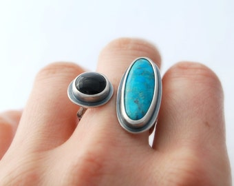 Turquoise and Onyx open face ring with twig - size - sterling silver open ring with onyx and turquoise cabochon size 6 size 7