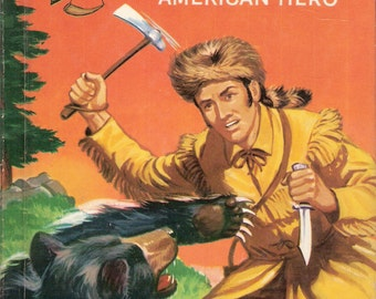 Davy Crockett American Hero Vintage Rand McNally Elf Book by Bruce Grant Illustrated by William Timmins