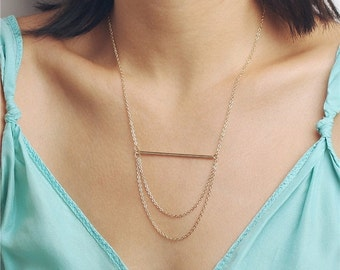 Delicate simple everyday simple bar layered chain necklace