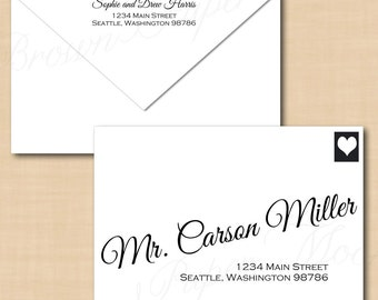 Change all colors calligraphy address wedding envelope for Avery 6870 template