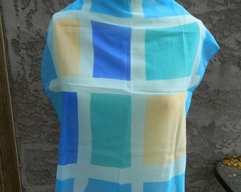 Colorful Geometric Scarf / Vintage Scarf / Green, Yellow, Blue and Teal Square Scarf