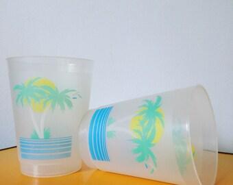 Retro 1990's Palm Tree Plastic Cups