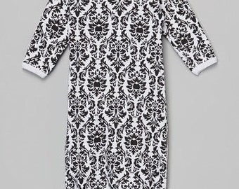 Black and white damask baby Gown or matching beanie 0-3m you choose color Laughing Giraffe brand