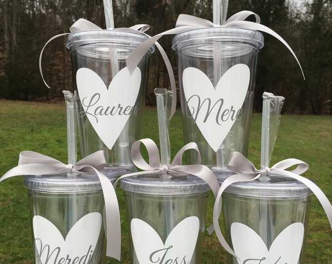 Heart Wedding Party Cup Wedding Party Tumbler Bridal Party Gift Bridesmaid Cup Flower Girl Cup Heart Personalized Cup Name and Heart Tumbler