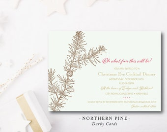 Northern Pine Christmas Party Invitation | Christmas or Holiday Party Invitaiton with Blank Envelope | Printed or Printable by Darby Cards