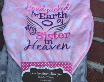 Handpicked for earth by my.... In Heaven baby blanket 31x 31