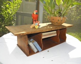 Salvaged Rustic Solid Wood Worn Vintage Letter Box, Wall Mounted, Desk Caddy, Box