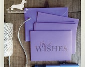 CLEARANCE! Best Wishes. Note Cards (Set of 4) -- (Vintage-Style, Purple, Lavender, Gold Foil, Baby Shower, Congratulations, Bridal Shower)