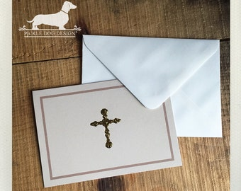 CLEARANCE! Cross. Note Cards (Set of 3) -- (Vintage-Style, Baptism, Christening, Confirmation, Communion, Simple Thank You Cards, Gold Foil)