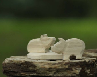 Unfinished Pigs and a Mud Puddle  Wooden Toy  - Nature Table - Waldorf Animal
