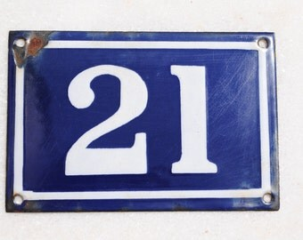 Vintage French enamel cobalt blue and white house number plaque - number 21
