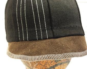 Recycled Black Denim With Suede Brim Newsboy Hat