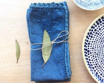 hand dyed vintage napkins, set of 4 napkins