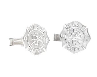 Sterling Silver Firefighter Fireman Fireman Shield Cufflinks