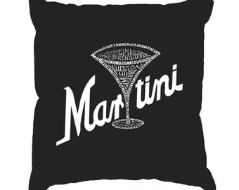 Throw Pillow Cover - Word Art - Martini