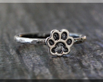 Sterling Silver Paw Print Ring, Simple Stacking Ring, Dainty Sterling Ring, Handmade Stackable Sterling Silver Ring, Pet Lover Stacking ring