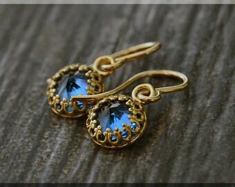 READY to SHIP, Zircon Earrings. 14k Gold Filled December Dangle Earrings, Birthstone Earrings, Blue Zircon gemstone earrings