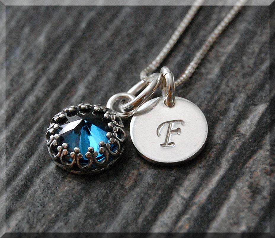 blue zircon december birthstone necklace sterling silver. Black Bedroom Furniture Sets. Home Design Ideas