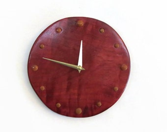 Unique  Wall Clock, Purpleheart Wood Clock,  Home and Living, Home Decor, Decor and Housewares