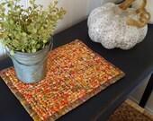 10x7 Inch Autumn Pot Holder, Golden, Green, Burnt Orange, Wine Table Decor, Housewares, Snack Mat