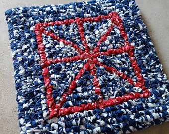 Stars and Stripes Table Mat, Hot Pad, 7.5 x 7.5 Inch Fabric Pot Holder, Batik fabric