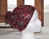 worsted merino wool crochet adult hat/beanie in crushed berry colorway
