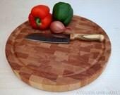 End grain cutting board, Butcher block, wooden cutting board, 16'' rounded cutting board