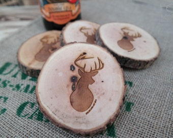 Set of 4 oiled salvaged coasters with lasered drawing - Deer head edition