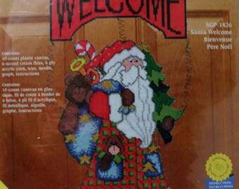 Janlynn Sugarplum Greeters plastic canvas Santa Welcome
