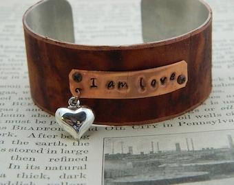 Inspirational bracelet I Am Love bracelet inspirational jewelry Motivational