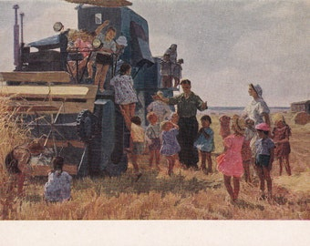 Socialist realism Russian vintage postcard (1954), We Want To Know Everything, Soviet art print, genre art children kids wheat field farming