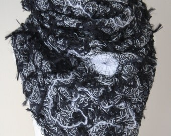 Black and white sewn (crazy wool technique) shawl FREE UK SHIPPING