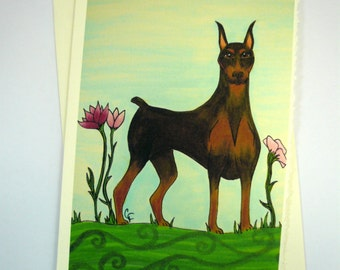 printed greeting card, colorful greyhound dog design, blank inside Ivory card with deckle edge, envelope included.