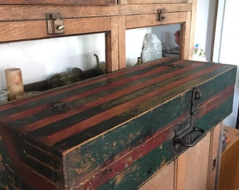 Antique Carpenters Tool Box RED and Green Folk Art Americana Primitive Chest Locking Wood Box Tongue and Groove