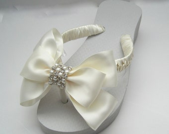 Flip Flops Bridal Wedding Ivory with Gorgeous Ivory Satin Bow and Pearl and Rhinestone Band Accent
