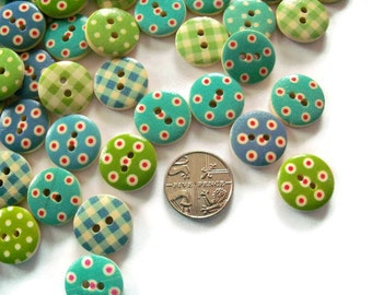 100 x Mixed Gingham and Polka Dot Buttons - 15mm Wooden Buttons