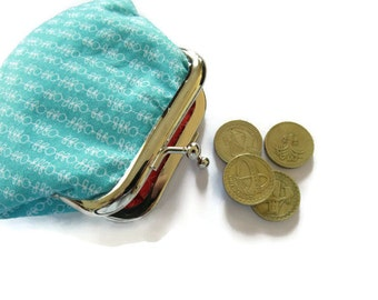 Small Turquoise Blue Coin Purse - Framed Change Purse - Red Fabric Change Wallet