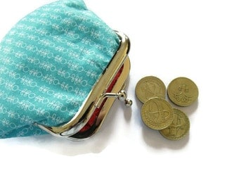 Small Turquoise Blue Coin Purse - Framed Change Purse - Coin Purse