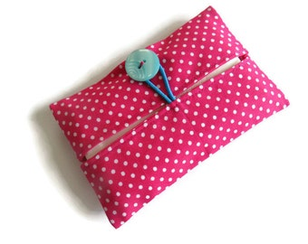 Cotton Fabric Cover for Paper Tissues -Kleenex Cover Case - Button Closure- UK Seller