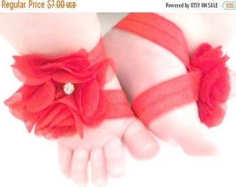 HALLOWEEN SPECIAL SALE Red Baby Barefoot Sandals - Baby Photo Prop