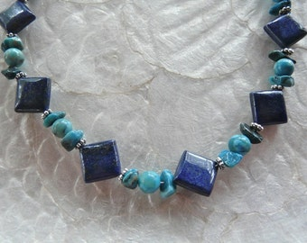 27 Inch Long Lapis and Turquoise Crazy Lace Agate Necklace with Earrings
