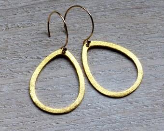 Brushed Drop 35mm Earrings In Gold