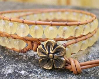 Wrap bracelet, Boho wrap bracelet, Beaded Leather wrap bracelet, Beaded Bracelet, Yellow, quartz - 808