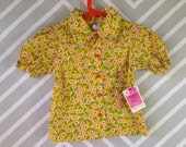 vintage deadstock sears perma-prest girls cotton daisy blouse size 6-7-8 years