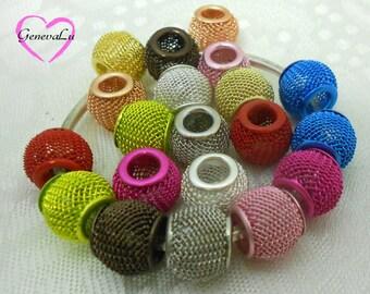1 Dozen Beautiful  Mesh Euro Beads Multi-color Mix
