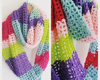 SCARF CROCHET,Pattern, Crochet, Pattern, Scarf, Easy Pattern,Rainbow, Handmade,Crocheting, CrochetPattern, PDF-file, Instant Download